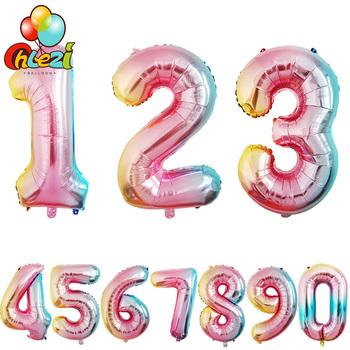 32 cal Gradient balony foliowe cyfry dekoracja urodzinowa Baby Shower akcesoria na imprezę 0-9 cyfrowy śmieszne prezenty tanie i dobre opinie Ballon 190409 FOLIA ALUMINIOWA 1 pc Numer Ślub i Zaręczyny Chrzest chrzciny Na Dzień świętego Patryka Wielkie wydarzenie