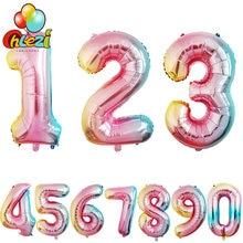 32 polegada gradiente cor folha número balões festa de aniversário decoração chá de fraldas celebração suprimentos 0-9 digital presentes engraçados