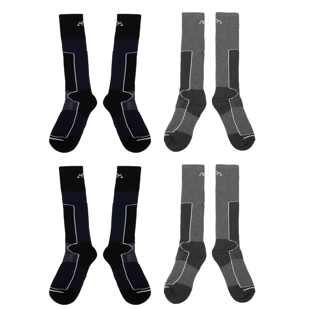 4 Pairs Men Long Socks for Skiing Snowboarding Snowmobilng Outdoor Sports