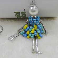 2017 New Arrival beads dress Doll Pendants Necklace hot sale Sweater chain or bag charms beads dress doll(China (Mainland))