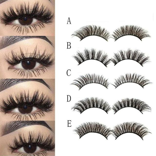 5Pair Mink Hair False Eyelashes Natural Cross False Eyelashes Long Messy Makeup Fake Eye Lashes Extension Make Up Beauty Tools 2