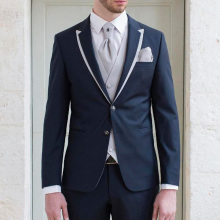 Navy Blue Wedding Groom Tuxedos Peaked Lapel Two Button Trim Fit Three Piece Men Suits 2018 Light Gray Jacket Pants Vest