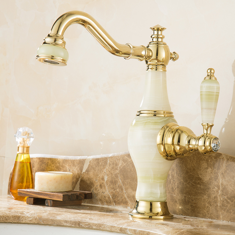 White Color Bathroom Basin Faucet Antique Bronze Finish Brass Sink Faucet Single Handle Vessel Sink Mixer Cold And Hot Water Tap  antique bathroom vanity sink faucet single ceramic handles brass hot and cold basin mixer copper pop up drain