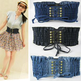Hot-selling Vintage Denim Rivet Gas Hole Belt Women's Elastic Bandage Type Wide Cummerbund