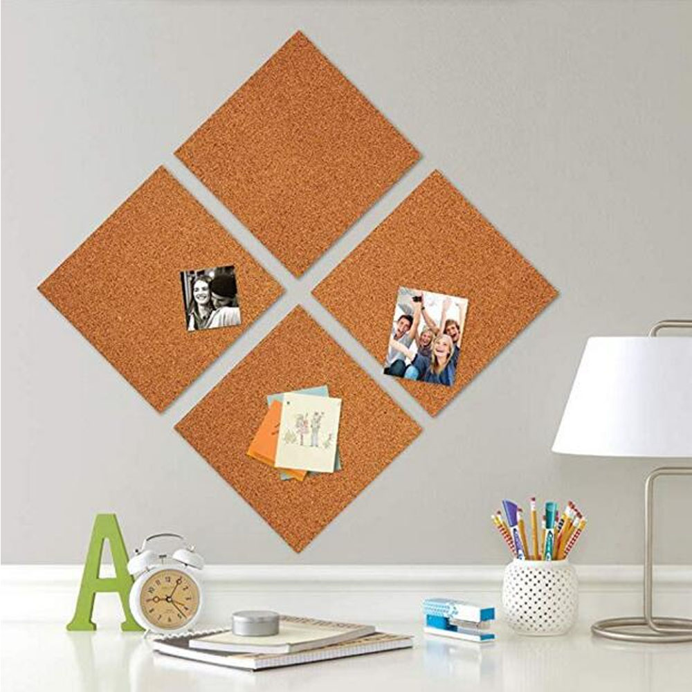 4PCS 30x30cm Cork Board Self-adhesive Wall Bulletin Board Memo Pin Letter Message Board Prikbord Photos Display Wall Decoration
