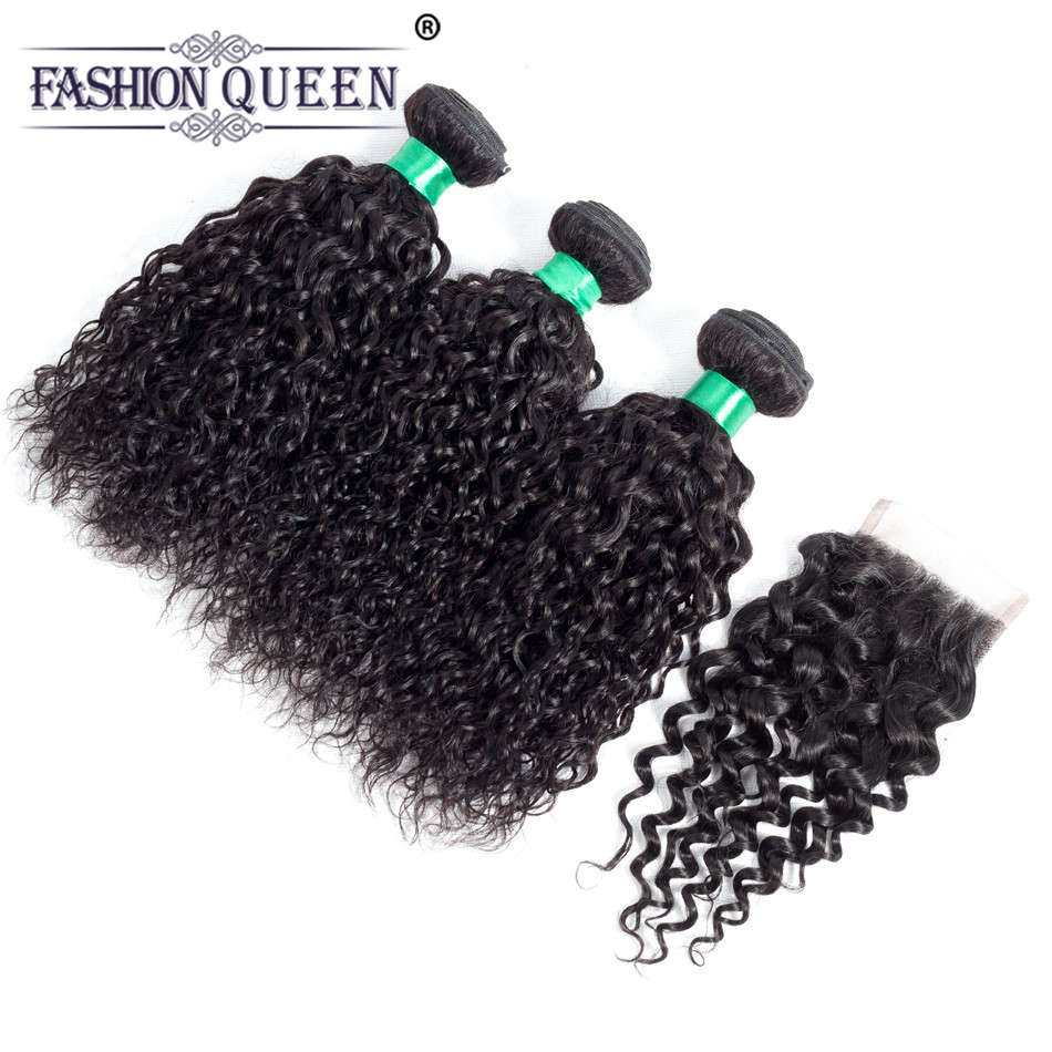 Fashion Queen Water Wave 3 Bundles With Closure Human Hair Bundles with Closure Free Part Indian Human Hair Non Remy Weave