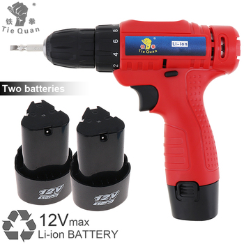 AC 100-240V Cordless 12V Electric Drill / Screwdriver with 2 Li-ion Batteries and Rotation Adjustment Switch for Handling Screws cordless drill kraton cdl 12 2 h 12v 1 3 ah li ion 0 300 0 1050 min 15 9 nm in the case