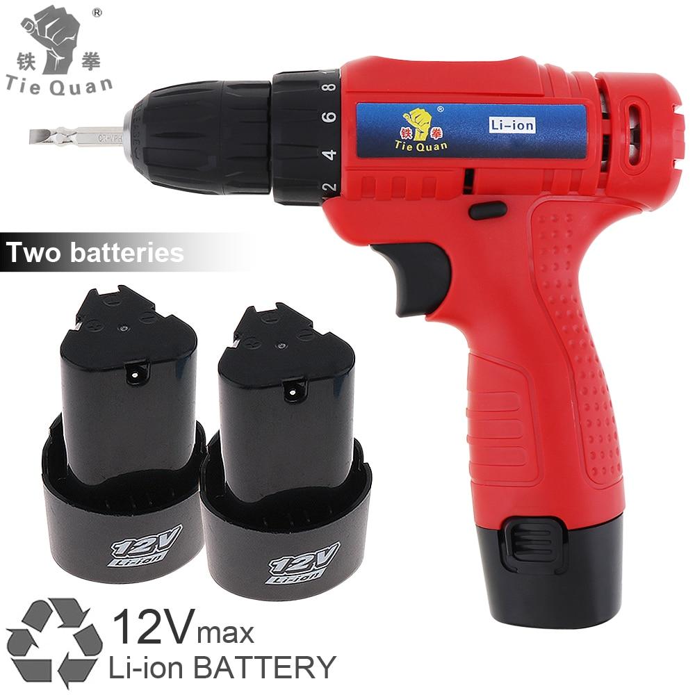 Perceuse/visseuse électrique sans fil AC 100-240 V 12 V avec 2 Batteries Li-ion et interrupteur de réglage de Rotation pour la manipulation des vis