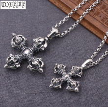 Ожерелье ручной работы из серебра 100% пробы тибетское двойное