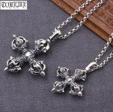 Handgemachte 100% 925 Silber Tibetischen Doppel Dorje Anhänger Halskette Sterling Hinduismus Vajra Anhänger Halskette Buddhistischen Vajra Amulett