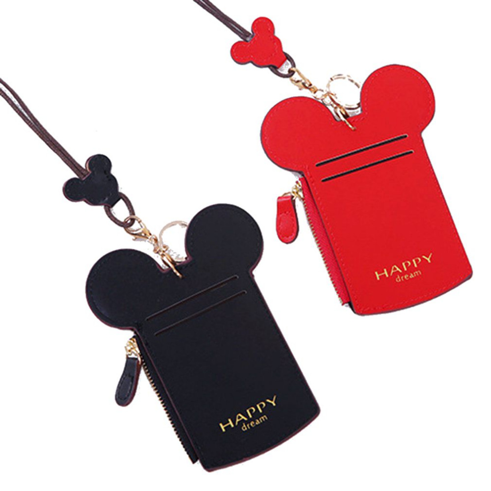 Cute Cartoon Minnie PU Leather Card ID Holders Bag Women Travel Small Bank Bus Credit Card Holder Keyring Key Wallet Chain Case