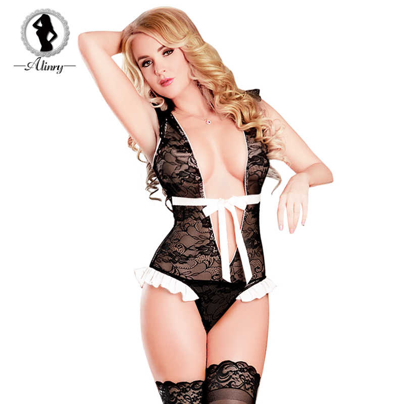 92bc9ed2139 Detail Feedback Questions about ALINRY Sexy Lingerie Women Lace Bodysuit Transparent  Erotic Black Teddy Costume Hollow Out Nightwear Underwear Babydoll ...