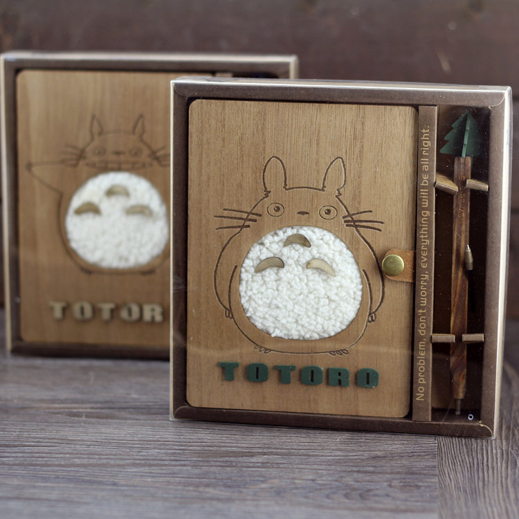 Creative Kawaii Notebook Totoro Cute Wood Cover Stationery Vintage Korean Diary Notepad School Supplies Gift ann notebook korea school supplies stationery cute happy graffiti leather surface solid color printing loose leaf diary notepad
