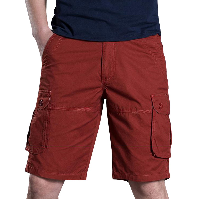 LASPERAL Summer Short For Men Baggy Multi Pocket Military Zipper Mens Cargo Short Male Long Solid Color Plus Size Loose Trousers
