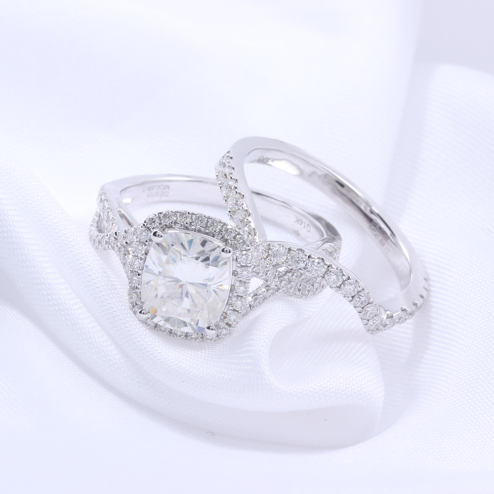 2 carat ct f color cushion cut lab grown moissanite diamond wedding ring set with moissanite - 2 Carat Wedding Ring