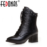 FEDONAS 2018 Top Quality Fashion Women Ankle Boots Med Heel Zip Lady Autumn Winter Warm Snow