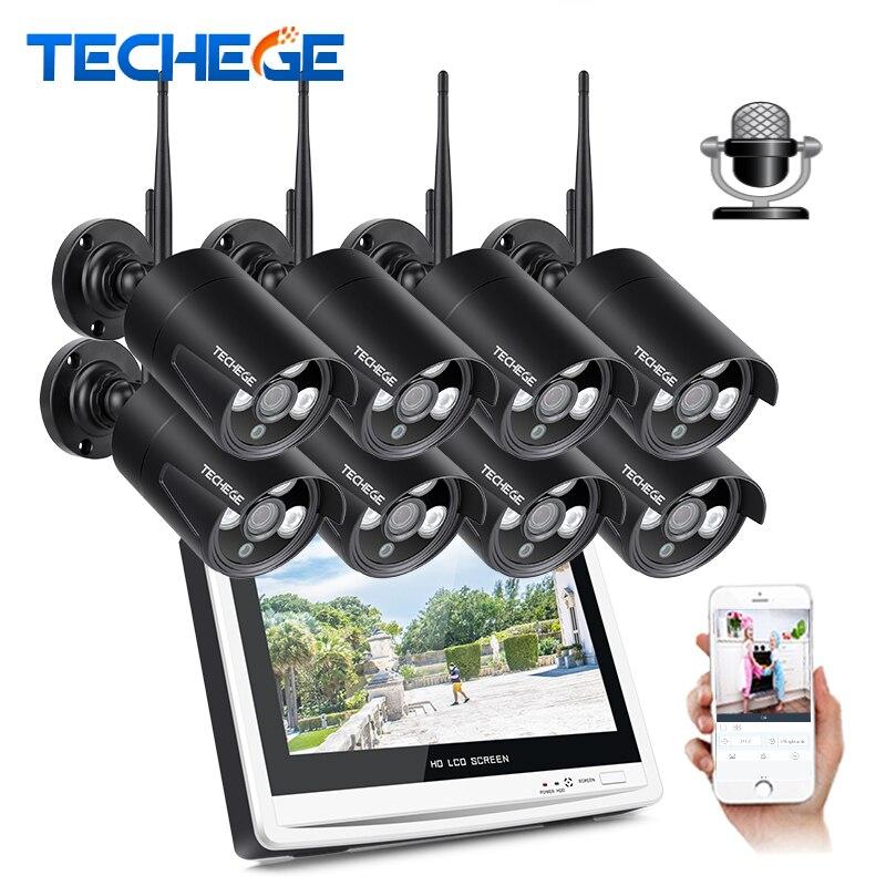 Techege 8CH 1080 p Sans Fil NVR CCTV Système 12 LCD Écran 2.0MP Enregistrement Audio IP Extérieure Caméra de Sécurité de Surveillance système