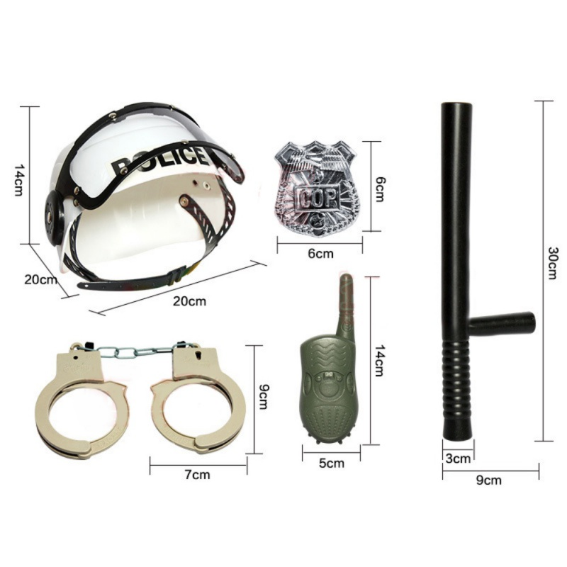 Handcuffs Set toys for children boys police baton Emblem Policeman Role Pretend Play Boys Toy Camouflage Hat Walkie Talkie