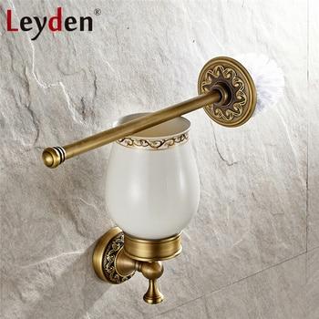 Leyden Antique Brass/ ORB Toilet Brush Set Vintage Brush Holder Ceramic Toilet Brush Holder Wall Mounted Bathroom Accessories