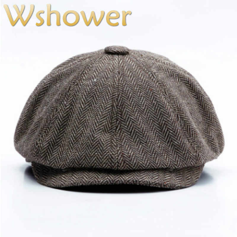 ea266e41375 Striped Berets For Old Men British Style Classic Retro Fall Visor Male Flat Hat  Cap Grandpa