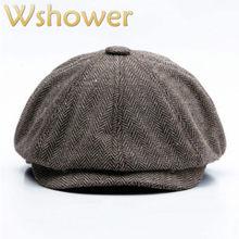 Boinas rayadas para los viejos hombres estilo británico clásico Retro otoño  visera sombrero plano masculino gorra 7b49543e423