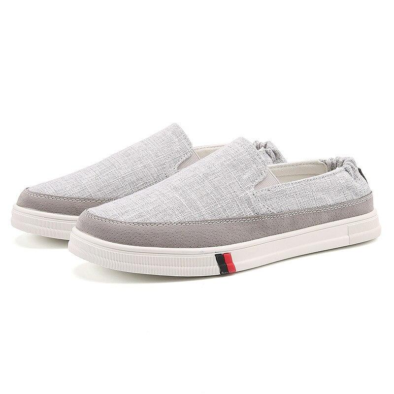Casual Respirant Haute Chaussures Qualité Nouvelle Confortable Paresseux Slip beige Mocassins gray Été on Hommes Conduite Toile De Black Printemps Z56 Plat AXqg5
