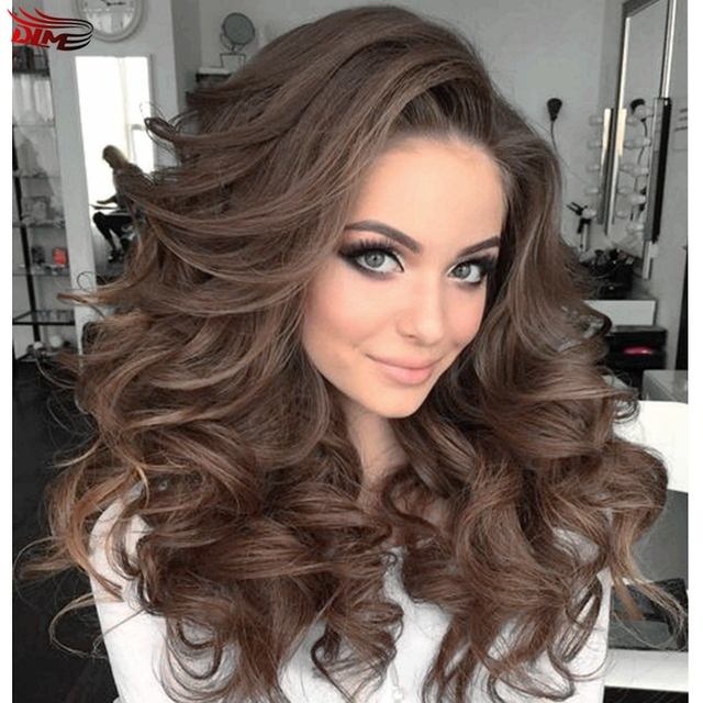 Natural Look Dark Coffee Body Wave Wigs High Quality Long Wavy Hair