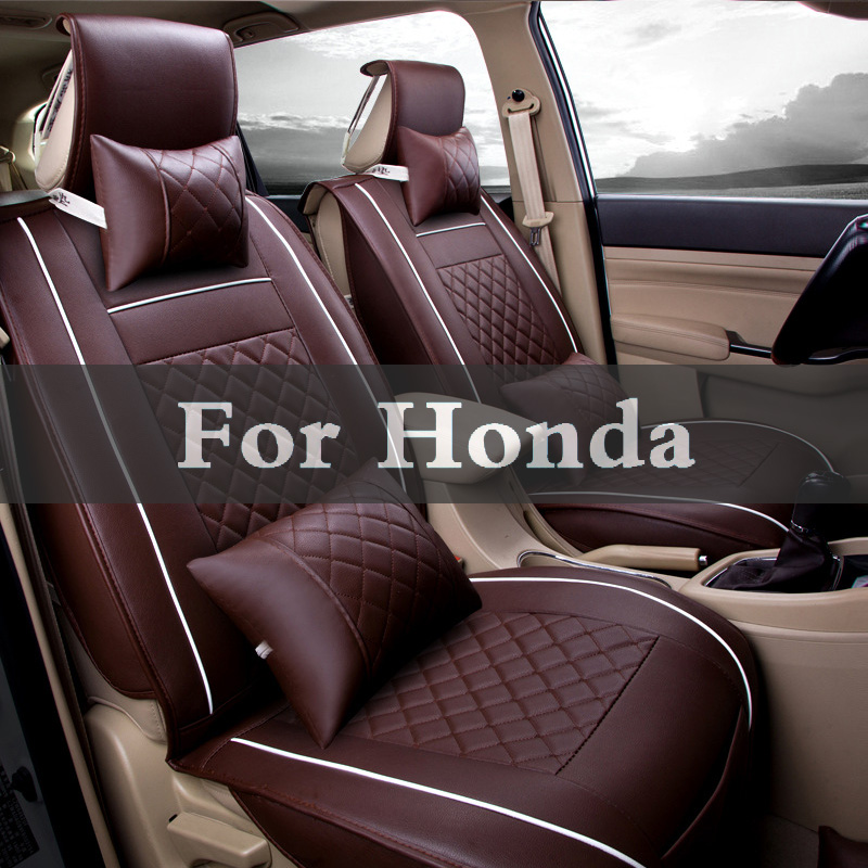 Four Seasons Leather Car Interior Pad Front Back Seat Cushion Cover For Honda Fcx Clarity Fit Aria Hr-V Insight Inspire Jazz pillowcase classic style wave pattern car comfy back cushion cover