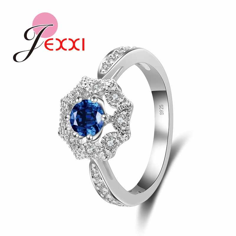 Charm Luxury Shiny หญิงแหวน Cubic Zirconia 925 แหวนเงินเครื่องประดับของขวัญวันเกิดสำหรับผู้หญิงขายส่ง
