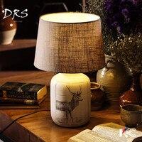 Американский страна ткань Керамика настольная лампа ребенка ночник Спальня прикроватной тумбочке мягкий свет лампы