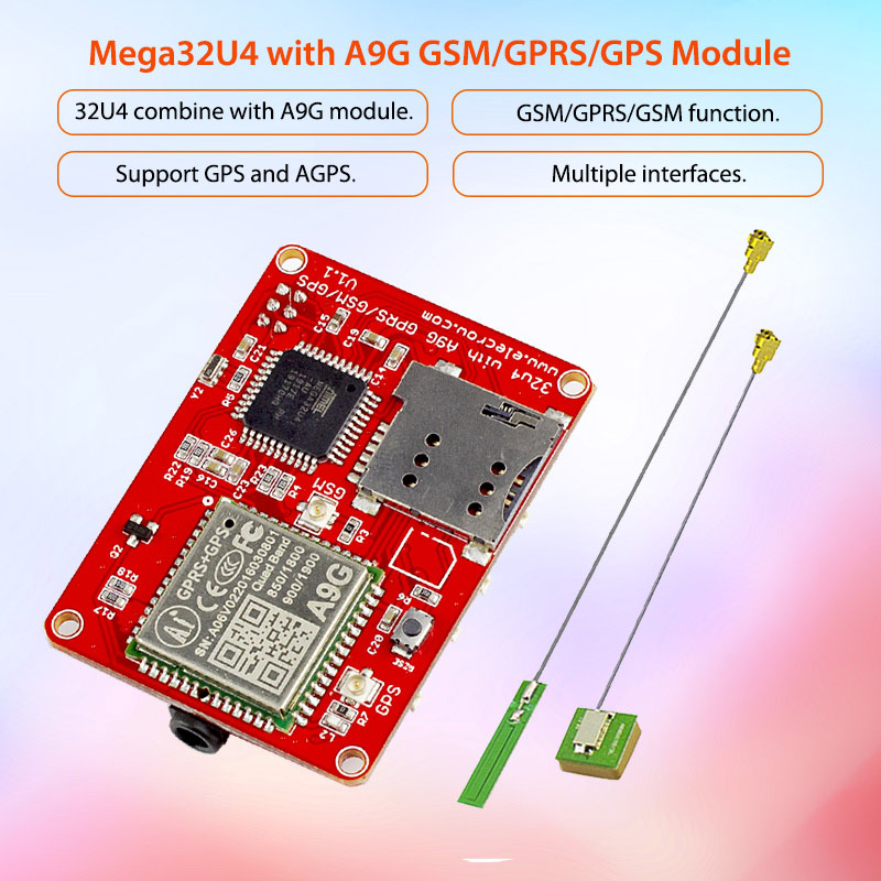 Elecrow ATMEGA 32u4 A9G Module GPRS GSM GPS Board Quad-band 3 Interfaces  GPRS DIY Kit GPS Sensor Wireless IOT Integrated Modules