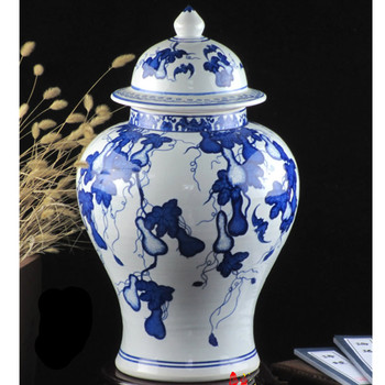 34-45cm Chinese Antique Qing Qianlong Mark Blue And White Ceramic Porcelain Vase Ginger Jar Vase Home Decorations R1874