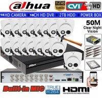 Dahua 2MP IR HDCVI Dome camera Built inMic HDW1200EMP A Security camera 16CH HCVR5116HS S3 CCTV camera kit HDD with power box