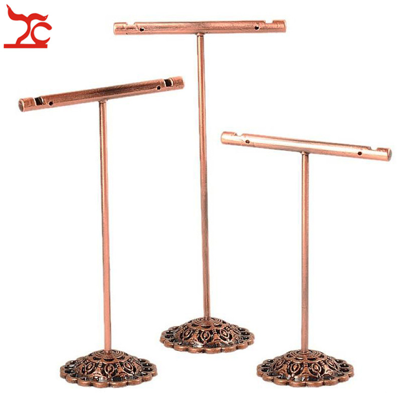 3Pcs/Set Portable Earring Jewelry Display Rack Metal Earring Stud Necklace Organizer Ornament T Bar Hanger Showcase Holder Stand