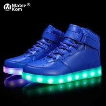 Rozmiar 25 37 dzieci Led Usb ładowania świecące tenisówki dzieci Hook Loop moda świecące buty dla dziewcząt chłopców trampki ze światłem