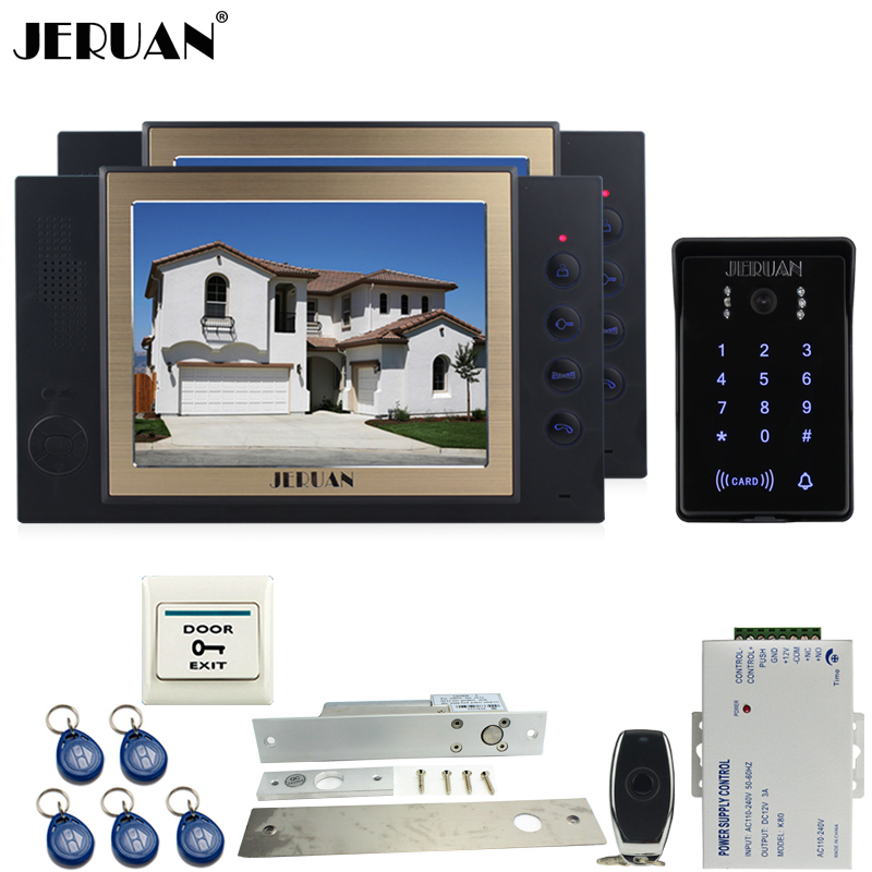JERUAN 8`` video door phone Recording intercom system kit 2 monitor New RFID waterproof Touch Key password keypad Camera 8G SD jeruan 7 lcd video door phone record intercom system 3 monitor new rfid waterproof touch key password keypad camera 8g sd card