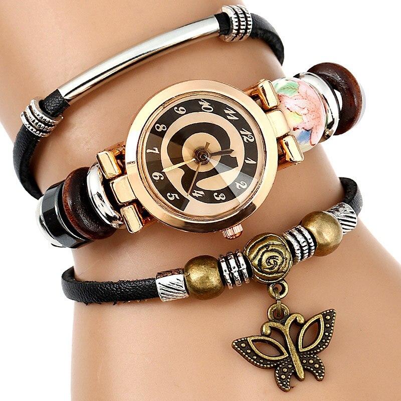 Top Lederen Horloge Dames Triple Armband Polshorloge @ Gezicht - Dameshorloges