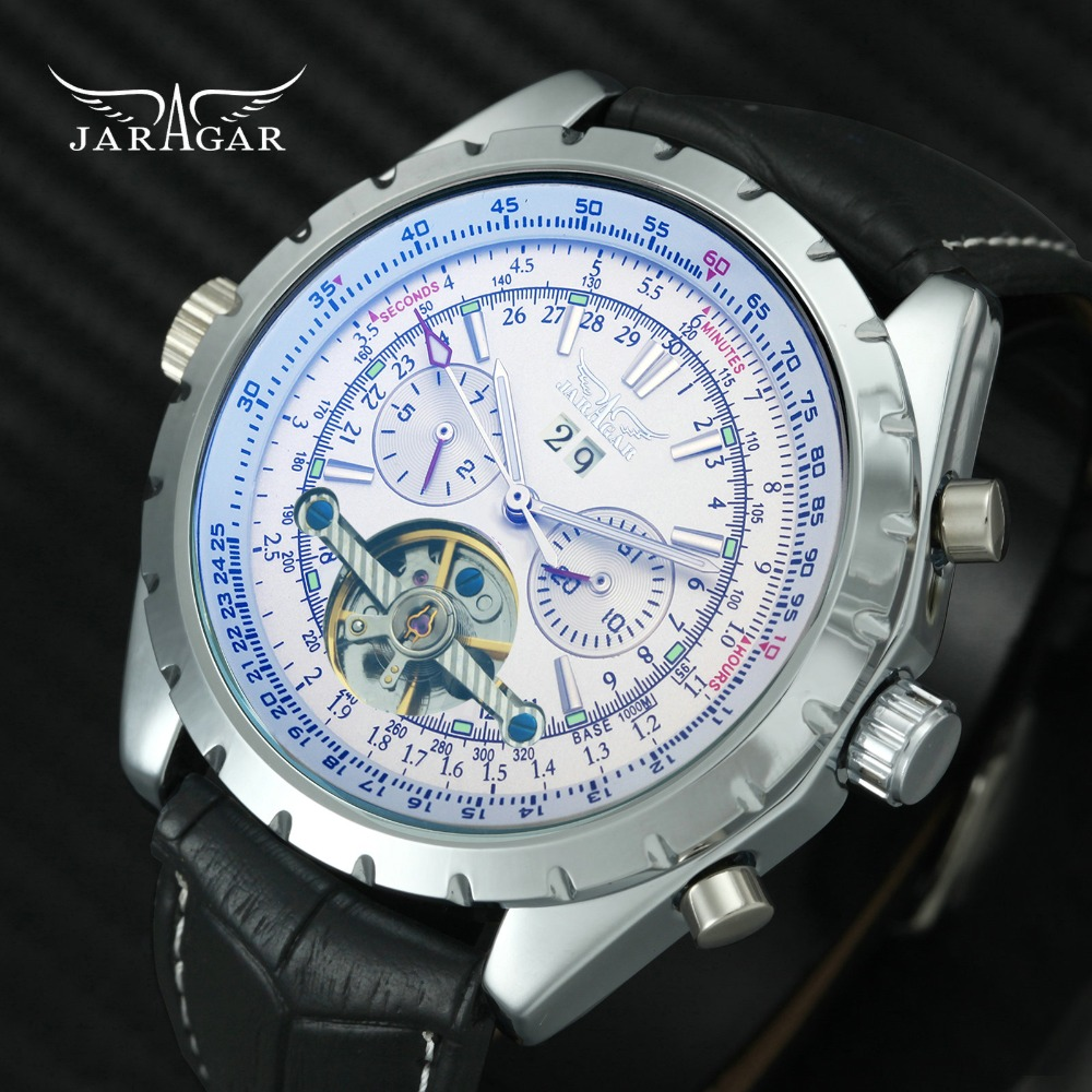 JARAGAR Marca Top de Luxo Clássico Relógio Mecânico Automático Dos Homens de Trabalho sub-marca Tourbillon Pulseira de Couro Genuíno relógios de Pulso