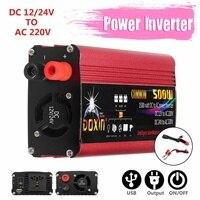 500W USB Power Inverter Converter DC 12V/24V To AC 220V 1000W Peaks Power Auto Inverter Converters Modified Sine Wave