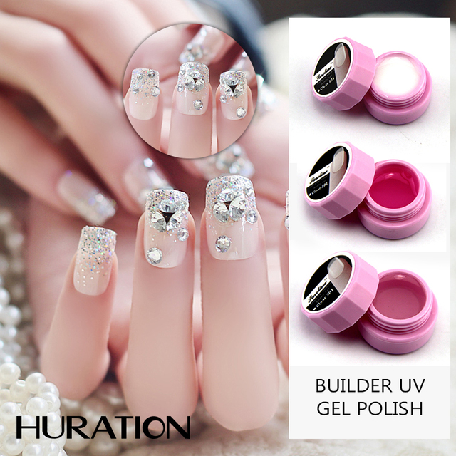 Huration Whole Pink White Camouflage Nail Extension Uv Builder Gel Transpa Clear Color