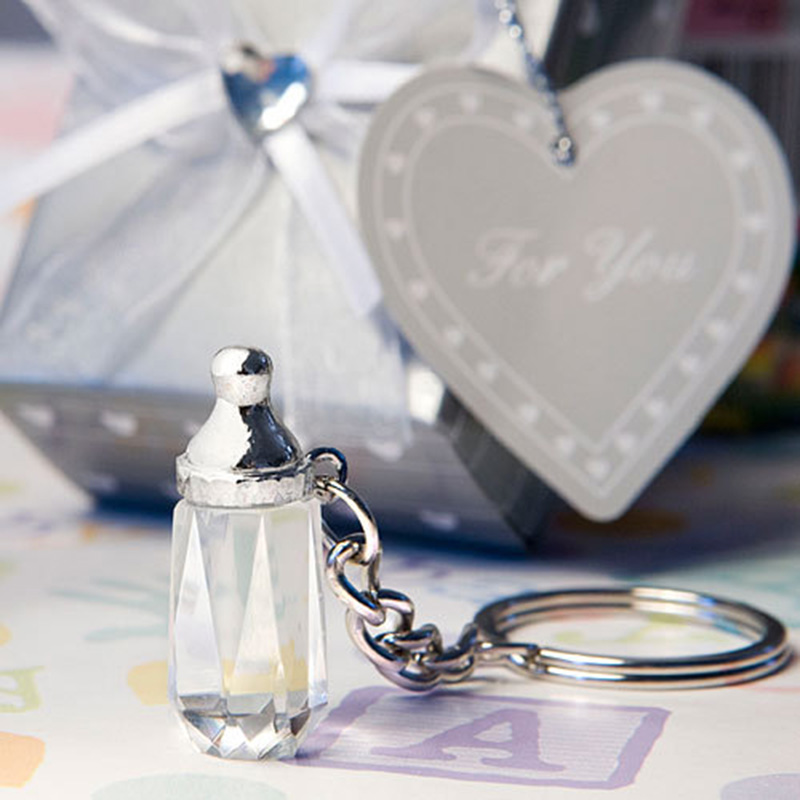 Party Favors 12pcs/lot Baby Baptism Souvenirs Crystal Collection Baby Bottle Keychain Wedding Return Gifts Evident Effect Festive & Party Supplies