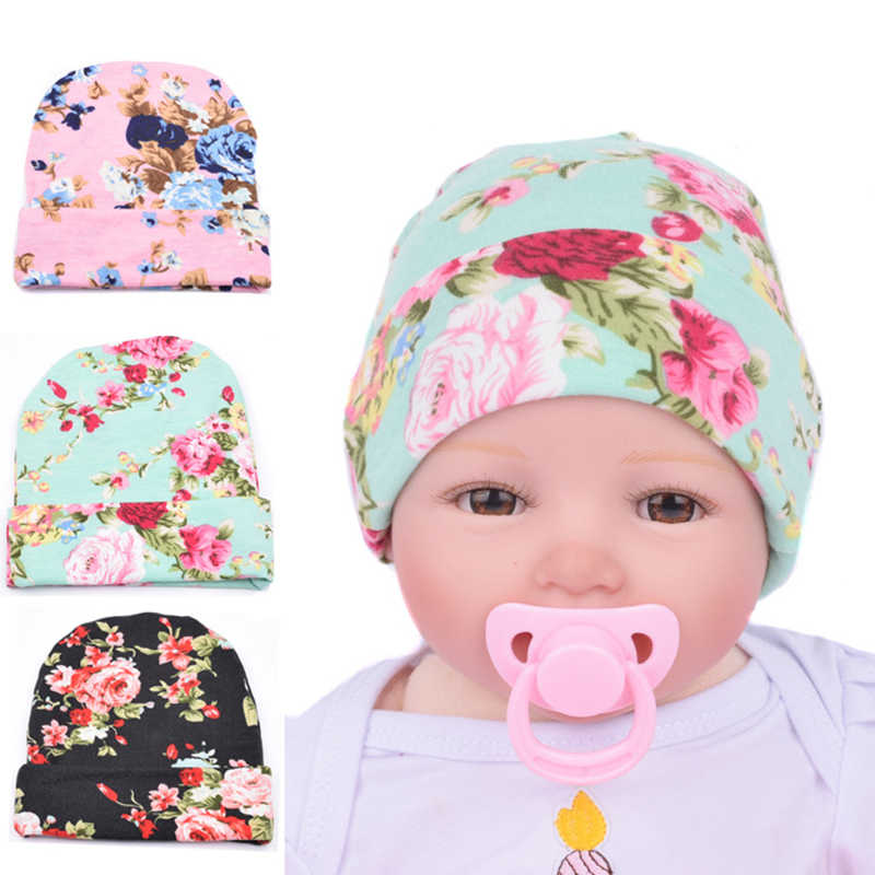 0544e7cb54e Newborn Baby Floral Cap Boys Girls Cotton Hat Infant Printed Knit Caps Kids  Hats Toddler Bonnet
