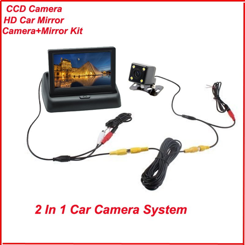 High resolution 4.3 inch tft lcd car rearview camera TV monitor with HD CCD Car rear view backup reverse auto parking camera kit 4 3 tft lcd car rear view stand security monitor and camera kit black
