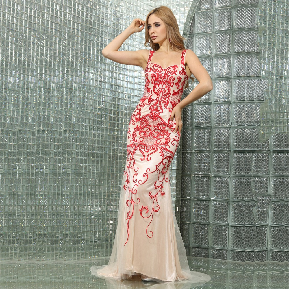 Red And White Lace Prom Dress: Alexzendra Red Lace Champagne Lining Mermaid Prom Dresses