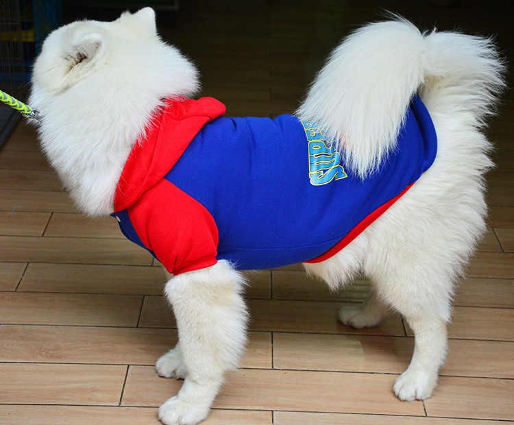 XS-8XL Anjing Besar Pakaian Besar Pug Sweater Superman Batman Sweater Musim Gugur dan Musim Dingin Hangat Pakaian Dua Warna Yorkie Hoodie