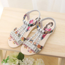 2019New Kids Girl Shoes Children Beach Sandal Rhinestone princess Shoes Baby Grils Sandal 4T 5T 6T 7T 8T 9T 10T 11T 13T-15T