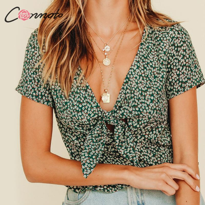 Conmoto Summer Sexy Blouse Women Casual Vintage Female Blouses Bow Ruffle Print Hollow Out Blusa Mujer