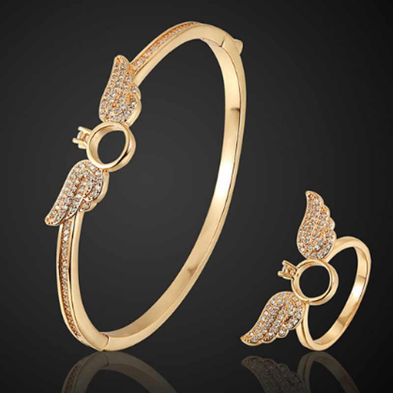 Zlxgirl Bentuk Yang Sempurna Sudut Sayap Emas Tembaga Gelang dengan Cincin Perhiasan Set Merek Mewah Kubik Zircon Pernikahan Aksesori Set