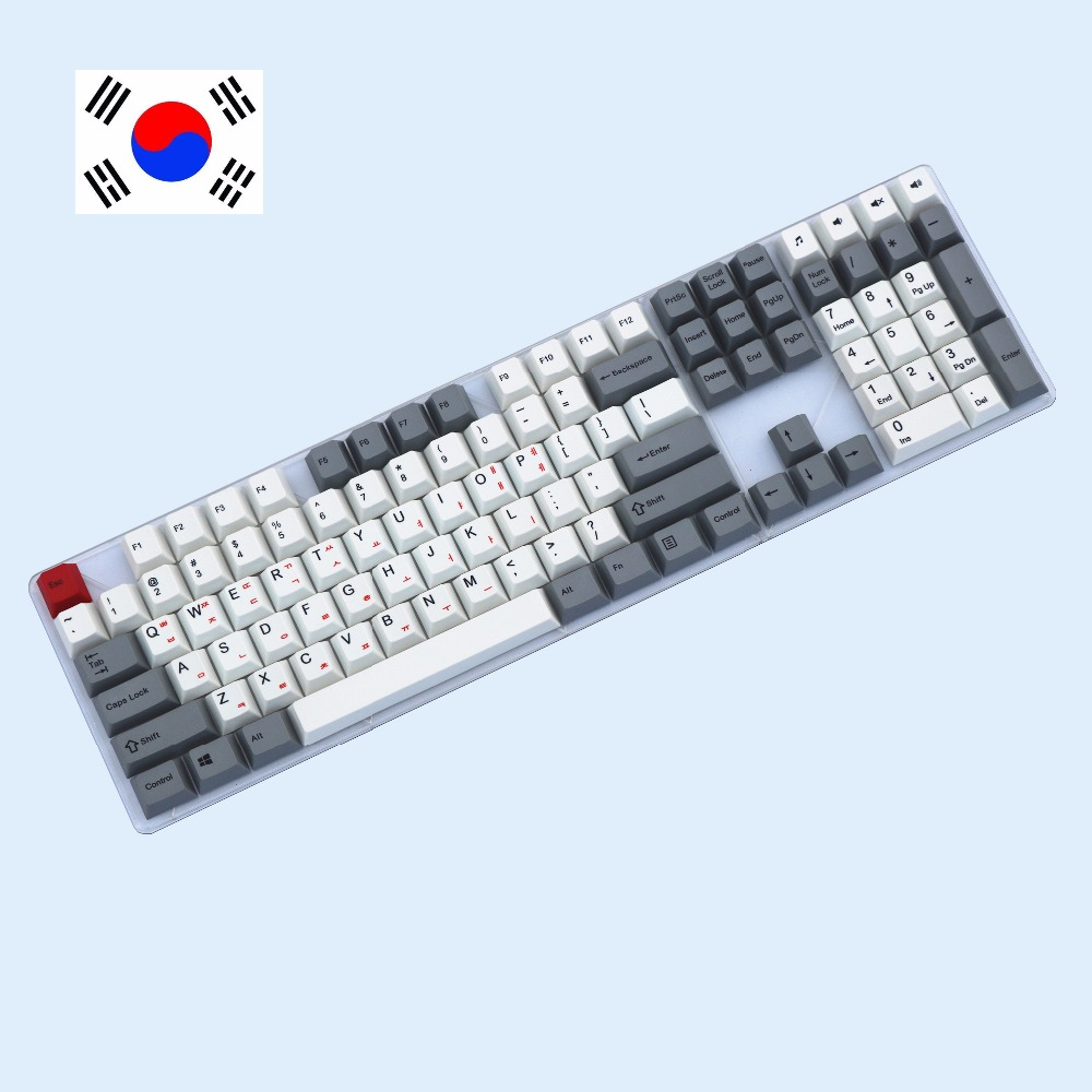 Dye-Sublimated pbt keycaps for mechanical keyboard 108 keys Korean print Cherry Filco Ducky Replace the keycap