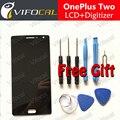 Oneplus two lcd display + touch screen 100% buen reemplazo digitalizador asamblea accesorios para uno más 2 teléfono móvil